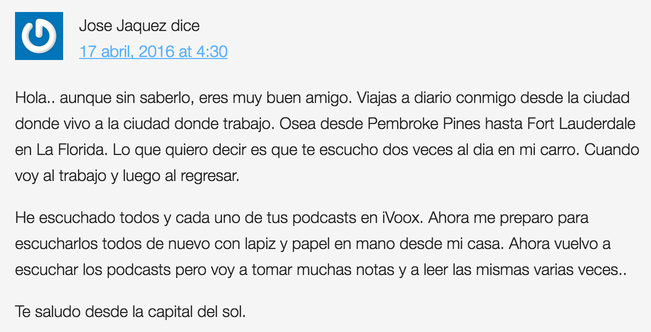 Comentarios podcast